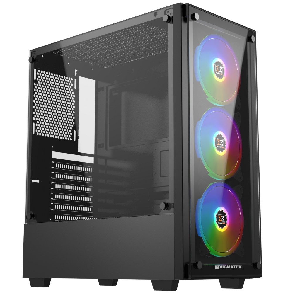 Case·XIGMATEK ARTEMIS BLACK (EN43088) – GAMING ATX, 2 SIDE TEMPERED GLASS, NO FAN Giá chỉ 630.000₫