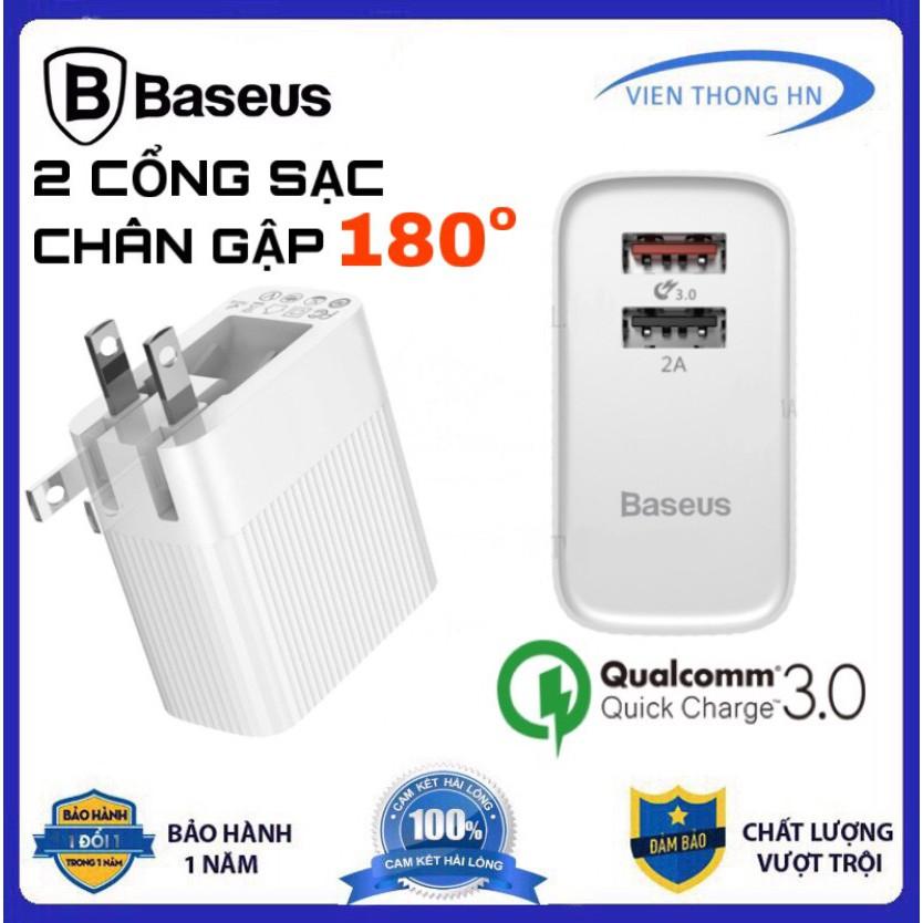 Củ sạc nhanh Baseus 2 cổng 3A QC3.0 và 2.4A - cốc sạc chân gập quick charge 3.0 chống cháy nổ