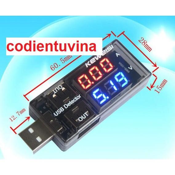 USB đo dòng áp V2 ( thiết bị đo dòng áp cổng USB Keweisi V2)