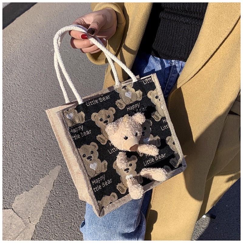 Túi Cói Hình Gấu Bông Loại 1 Siêu Xinh, Dày Dặn, Không Bán Hàng Loại 2 Nhé, Có Chú Gấu Bông Bên Ngoài