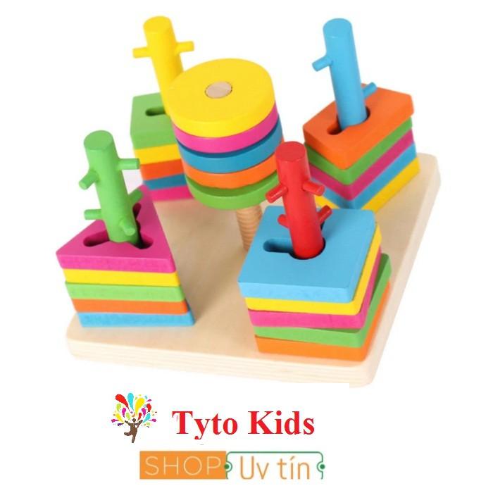 Bộ thả hình 5 cột khối - Đồ chơi giáo dục gỗ an toàn