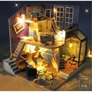Nhà búp bê I-DIY – A House Under The Starry Sky (có cót nhạc + mica che bụi)