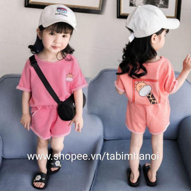 Bộ quần áo cộc tay hình hươu QATE198 cho bé gái