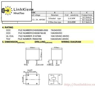 [Sale] Relay 24V10A 5 Chân SRD-24VDC-SL-C