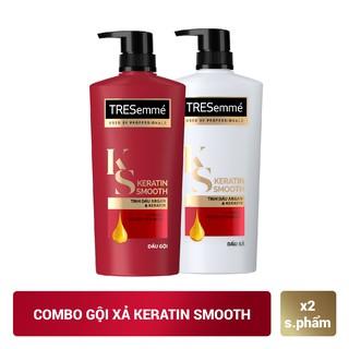 Hình ảnh Combo gội 650g + xả 620g TRESemmé Keratin Smooth Tinh dầu Argan và Keratin vào nếp suôn mượt-0