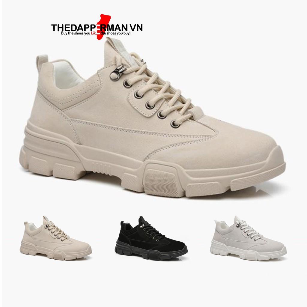 Giày thể thao sneaker nam THEDAPPERMAN D101 chất liệu da lộn chống nước, đế cao su non ma sát tốt, tăng chiều cao,màu be