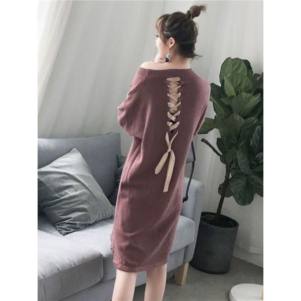 váy len đan dây lưng cổ trễ cực yêu cực xinh hàng quảng châu