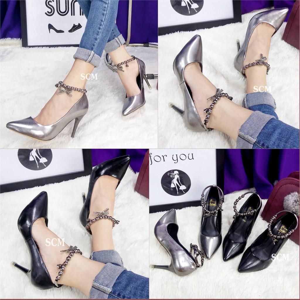 SALE - Giày cao gót quai choàng hạt ( chỉ còn đen 35)