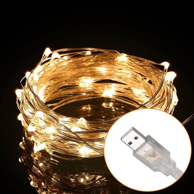 [Đầu cắm USB] Đèn đom đóm led 10m 5m Fairy light chụp chân dung, trang trí phòng màu vàng, trắng, 4