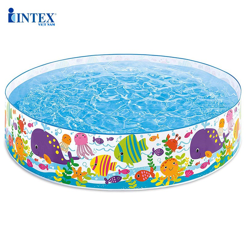 Bể bơi phao lắp dựng cho bé INTEX 56452, có 1 tầng hình tròn, thành cao 38cm, an toàn cho trẻ em – Bảo hành 12 tháng