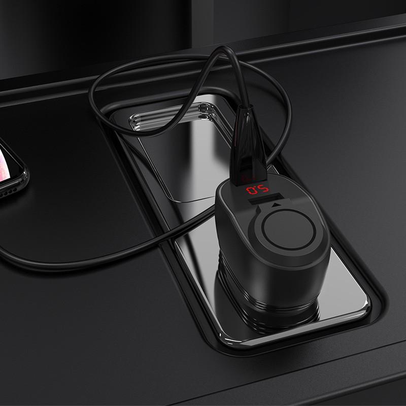 CODHOCO Z34 Cigarette Lighter Car Charger Dual USB Smart LED Digital Display