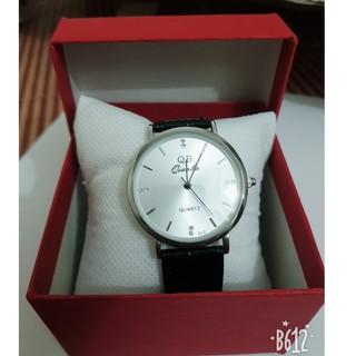 Đồng hồ nam nữ qianba mặt trắng dây da đen bóng siêu đẹp thumbnail