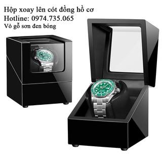 Hộp xoay đồng hồ vỏ Gỗ Sơn Đen Bóng - Hộp đựng đồng hồ cơ lên dây cót đồng hồ cơ Automatic thumbnail