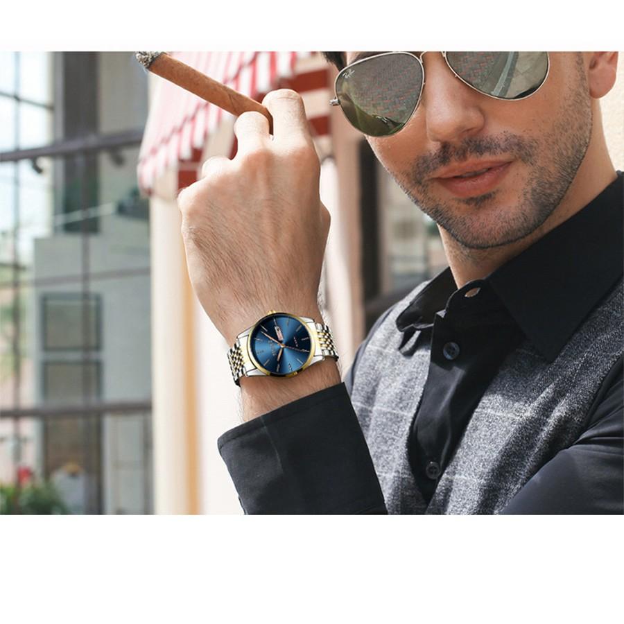 Đồng hồ nam TINACE F681 doanh nhân dây thép đen cao cấp