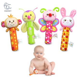 Happy Monkey Baby Plush Toy Newborn Infant Hand Rattle Mobile Bibi Stick Soft Monkey/Bee/Butterfly/Rabbit Doll Kid Toys