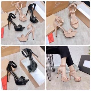 Sandal nữ cao gót đế đúp da bóng bít hậu 12p