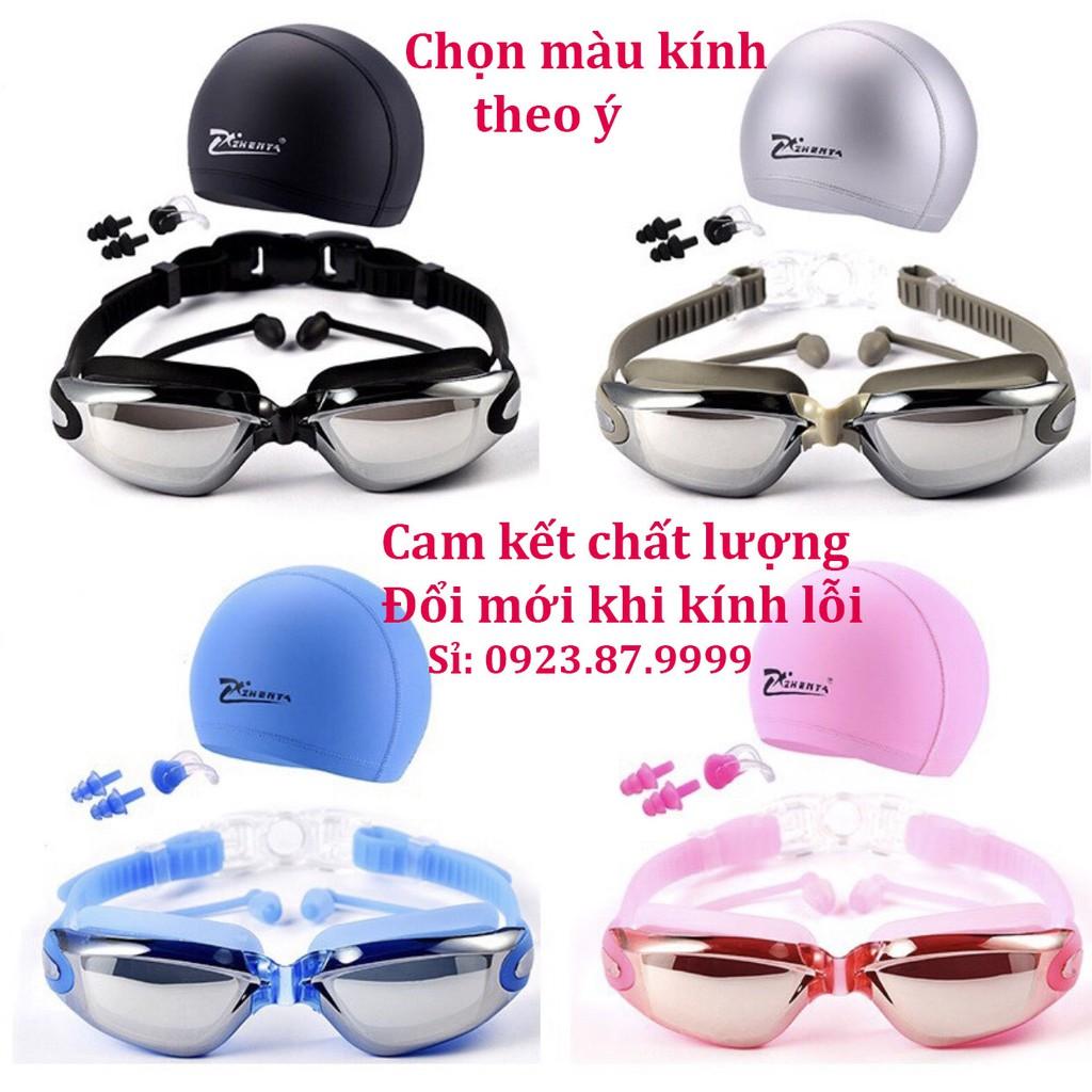 (GIÁ SỈ) Kính bơi tráng gương chống nước, chống mờ, chống tia UV (Bảo vệ mắt, có bịt tai).