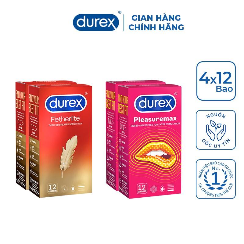 Bộ 4 hộp bao cao su Durex Pleasuremax (12 bao/hộp) và Durex Fetherlite (12 bao/hộp)