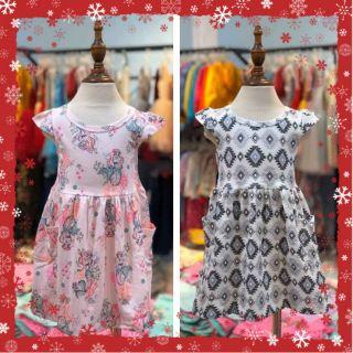 Váy bé gái cánh tiên họa tiết hai túi hãng LitiBaby size 1-10