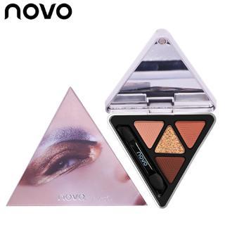 Bảng Phấn Mắt NOVO 4 Màu Lì Và Nhũ Kim Tuyến Vỏ Hình Tam Giác
