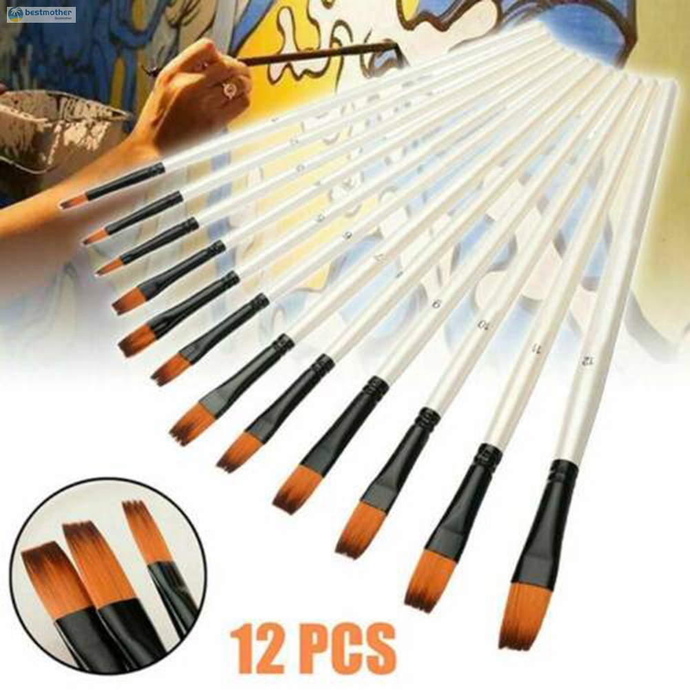 BM 12 Pcs Artist Brush Set Painting Brushes Assorted Artist Kids Paint Hobby Craft Art