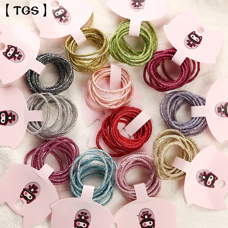 【TGS】(dây buộc tóc) 10Pcs/Cards  Child Rubber Bands Kids Hair Tie Wholesale Candy Colors Hair Elastics Hair Accessories