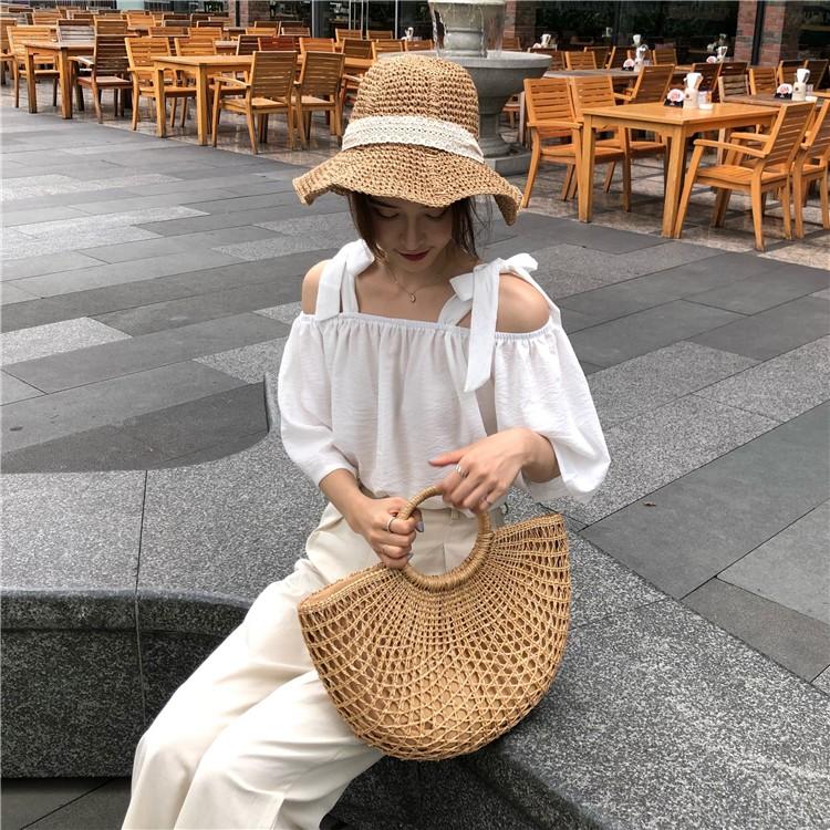 áo sơ mi ulzzang sơ mi nữ đẹp trắng trễ vai hở vai bẹt vai có dây áo kiểu dáng Hàn Quốc