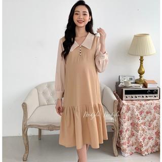 MEDYLA - Váy Bầu Thu Đông 1 lớp trượt hàn, cúc thật cài trước full ngực - V345 thumbnail
