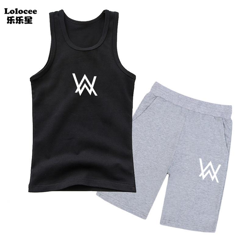Trang phục cho bé trai mùa hè Alan Walker DJ Bộ quần áo mùa hè cho bé trai Bộ quần áo trẻ em Xe tăng và quần short Bộ quần áo thời trang trẻ em