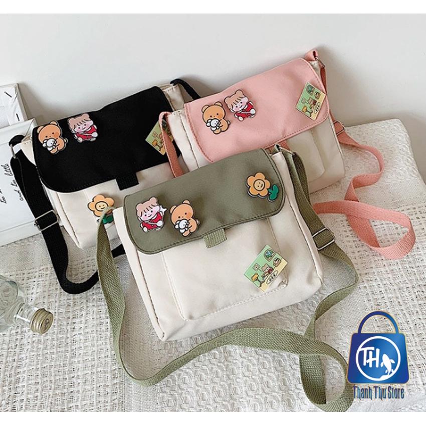 Túi vải nữ, túi đeo chéo nhiều phụ kiện đáng yêu BH 461