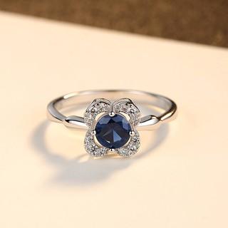 Hình ảnh Nhẫn Bạc Nữ Hình Hoa Bốn Cánh Đính Đá Xanh Lam N-2395-Bảo Ngọc Jewelry-1