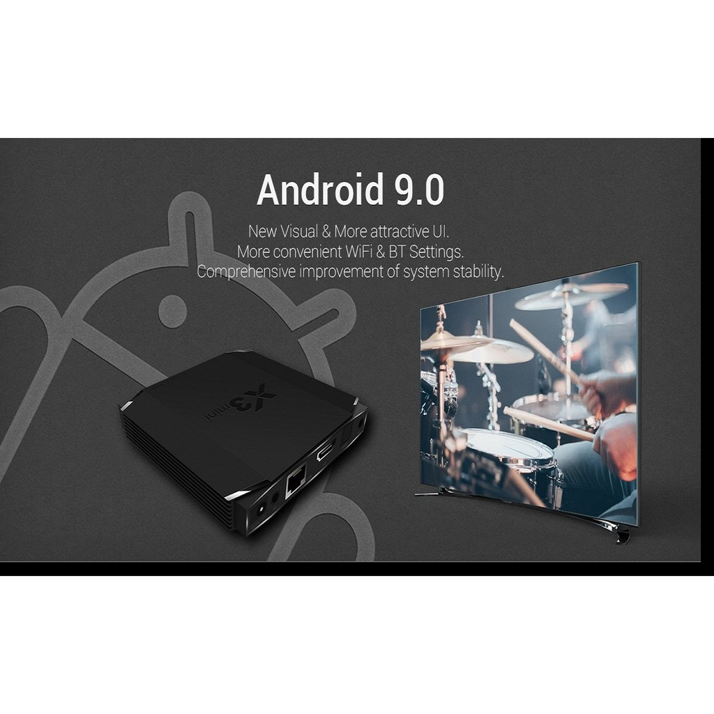 Android X3 MINI, Android TV 9.0, CPU S905X3, RAM 4GB, eMMC 32GB, Dual Band WiFi MU-MIMO, Bluetooth 4.2, LAN 100MB