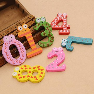 ♞10Pcs Cute Wooden Fridge Magnet Number 0-9 Kids Colorful Educational Toy Set