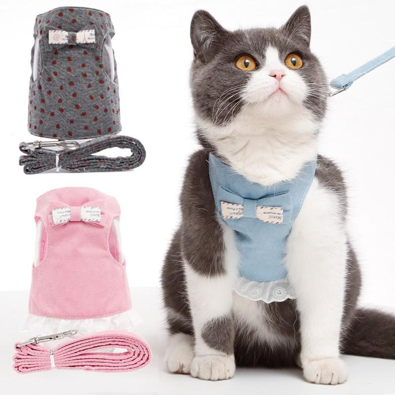 Dây dắt chó mèo đi dạo kèm áo yếm dễ thương