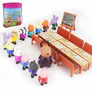 Peppa Pig 21 nhân vật kèm bàn ghế, bảng và túi đeo