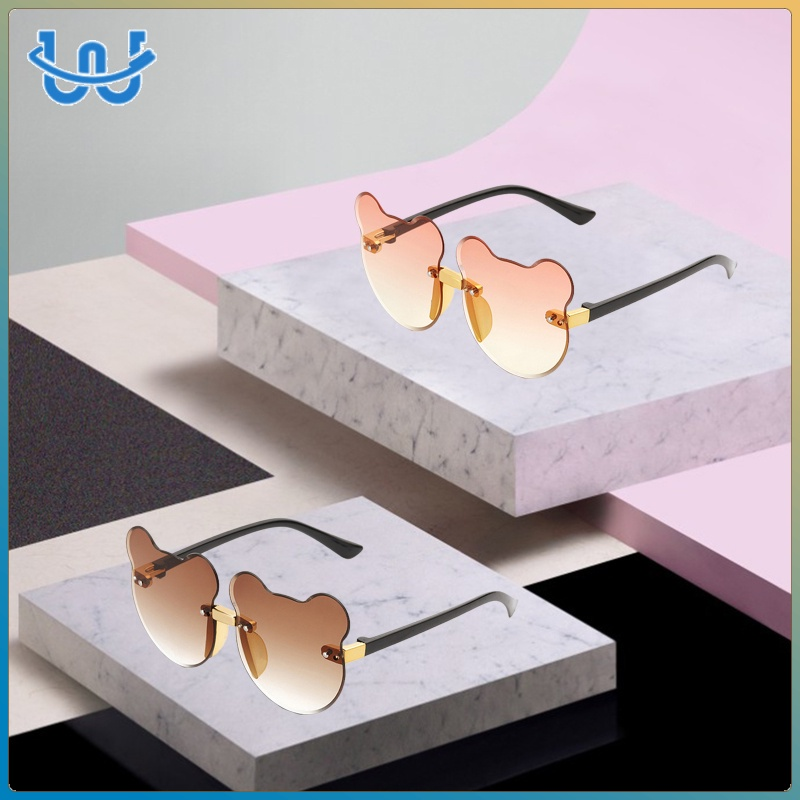 2pcs Summer Cat Ear Shaped Sunglasses Frameless Beach Kid UV400 Glasses