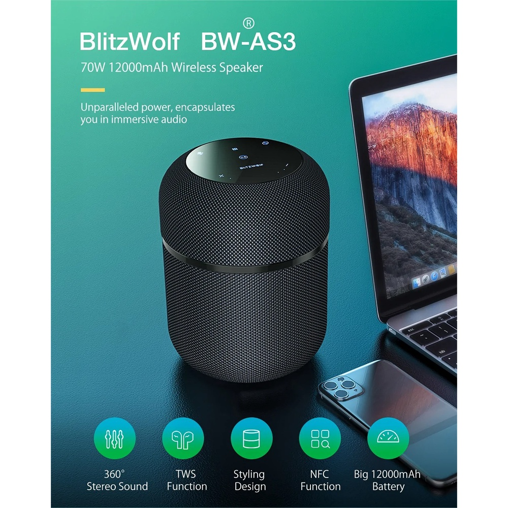 Loa không dây Bluetooth  BlitzWolf® BW-AS3 70W 12000mAh với âm thanh nổi 360 °, Chức năng TWS