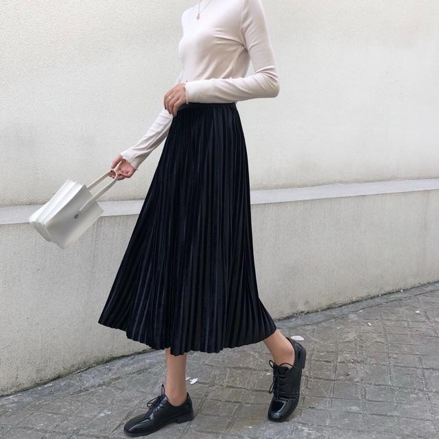 [Mã WASEPRN hoàn 20% xu đơn 99k] Chân váy xếp ly dáng dài rẻ đẹp