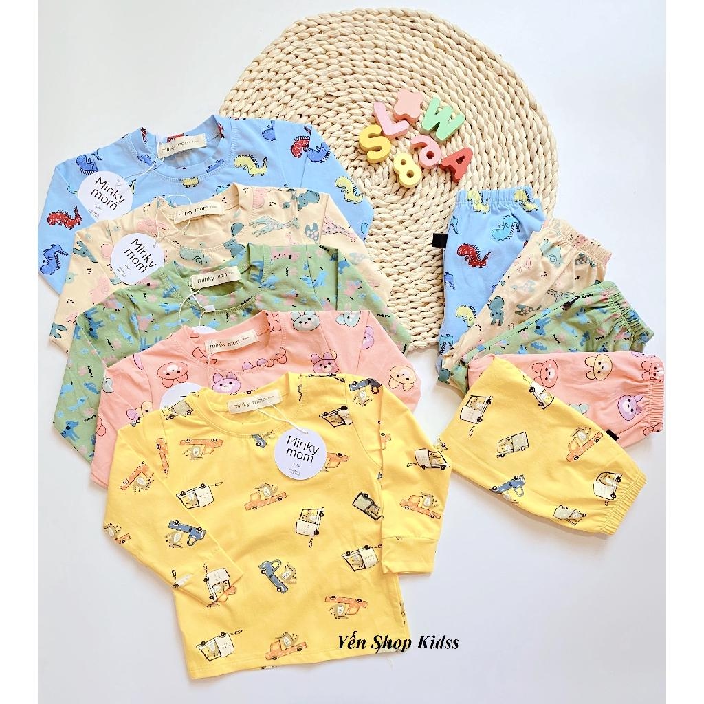 Bộ Dài Cotton Cao Cấp Hàng Minky Mom Họa Tiết Ô TÔ-Khủng Long Cho Bé (6-19kg)