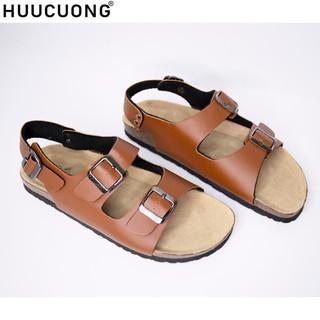 Sandal unisex thời trang HuuCuong -2 khóa pu nâu đế trấu thumbnail