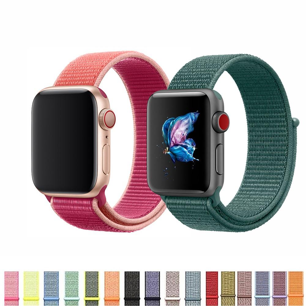 Dây đeo sợi nylon phong cách thể thao cho Apple Watch 38mm 40mm 42mm 44mm