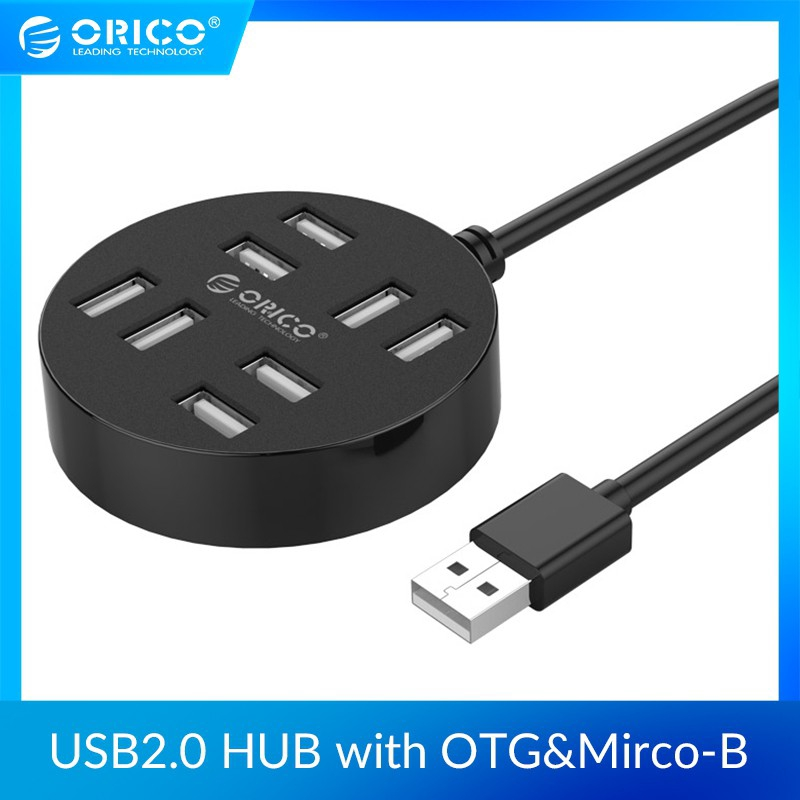 ORICO 8 Ports USB 2.0 Hub with 30cm USB Data Cable Reserved Micro B Power Supply