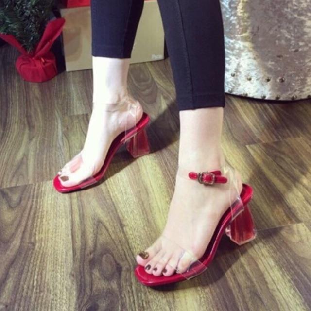 Sandal mica phối quai gài mảnh 7 phân ( nên đặt lên 1 size ) - TH123 (màu đen, đỏ, kem)