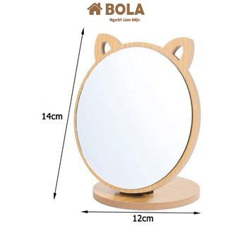 Gương Để Bàn, Gương Trang Điểm Tai Mèo Gỗ Để Bàn Siêu Cute Phong Cách Hàn Quốc Bola