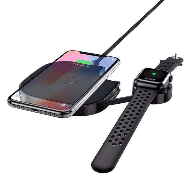 Hoco S5 Rich power-Đế sạc không dây 2in1 dành cho SMART PHONE hỗ trợ chuẩn QI/AIRPODS/APPLE WATCH