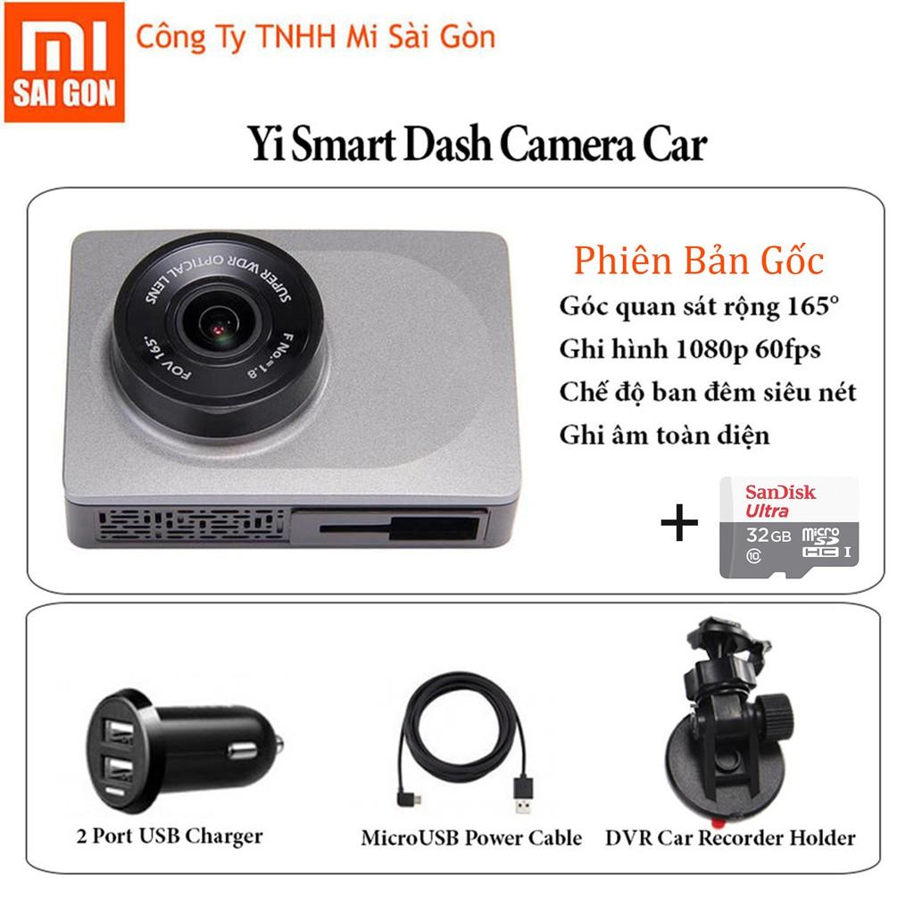 Camera hành trình xe hơi ô tô xiaomi yi smart car DVR + Thẻ 32gb - Phiên Bản Gốc
