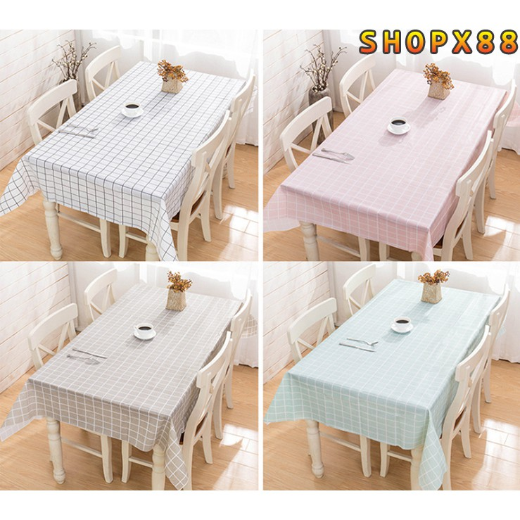 Khăn trải bàn vintage trang trí bàn ăn cao cấp Khăn trải bàn kẻ caro nhựa PVC chống thấm nước, không mùi, không phai màu