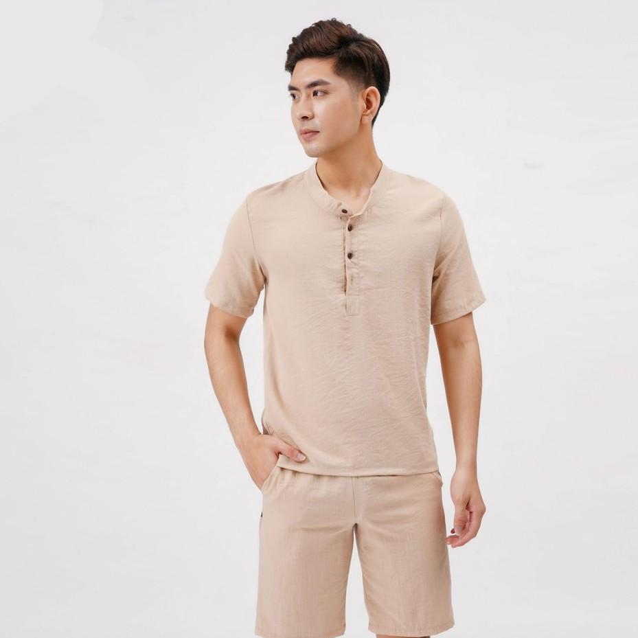 Mặc gì đẹp: Gọn tiện với đồ bộ nam bộ đũi nam chất vải đũi thoáng mát cho mùa hè mặc ở nhà DB01