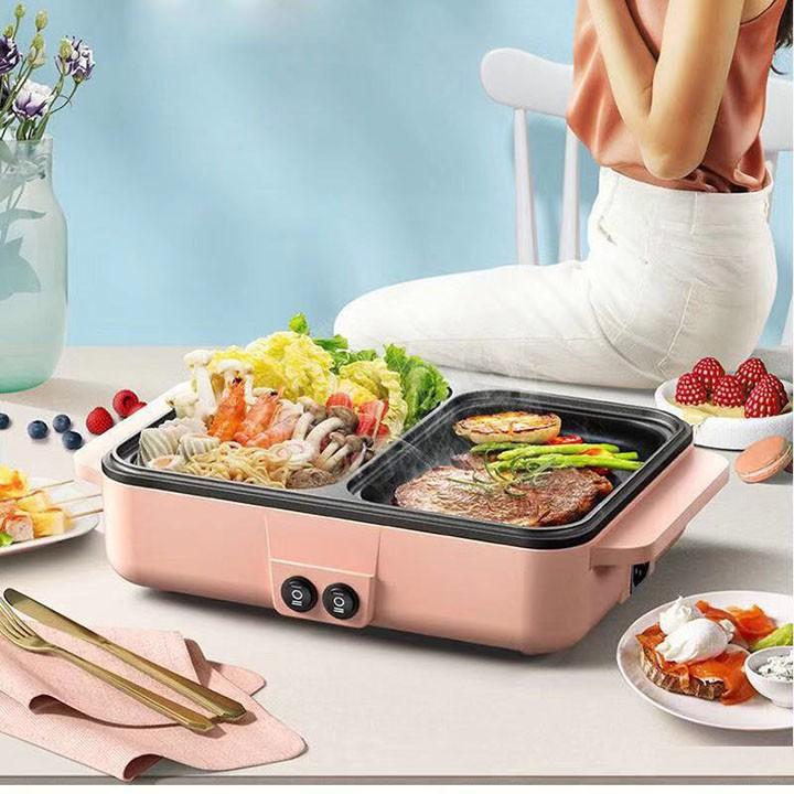 Bếp nướng điện, bếp lẩu nướng 2 ngăn mini, có ngăn nướng và ngăn lẩu