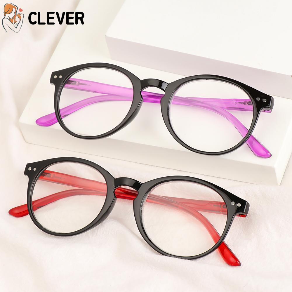 CLEVER Unisex Reading Glasses Portable PC Frames Presbyopic Glasses High-definition Ultralight Spring Hinge +1.00~+4.00 Eyeglasses/Multicolor